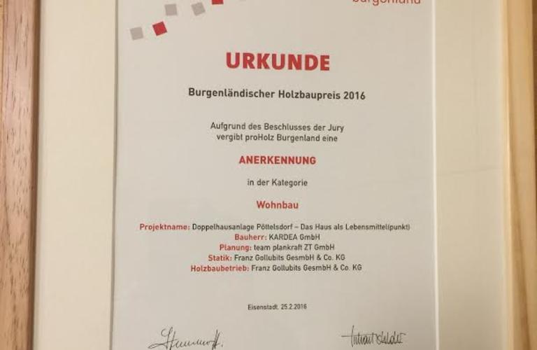 Urkunde Holzbuapreis 2016 Burgenland Holzbau und Zimmerei